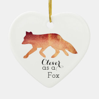 Clever as a Fox Typographical Watercolor Ceramic Heart Decoration