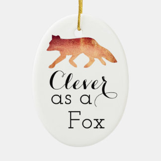 Clever as a Fox Typographical Watercolor Ceramic Oval Decoration