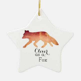 Clever as a Fox Typographical Watercolor Ceramic Star Decoration