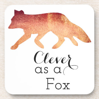 Clever as a Fox Typographical Watercolor Coaster