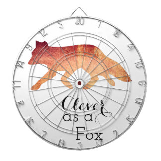 Clever as a Fox Typographical Watercolor Dartboard