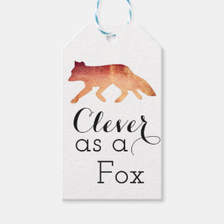 Clever as a Fox Typographical Watercolor Gift Tags