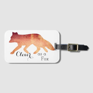 Clever as a Fox Typographical Watercolor Luggage Tag