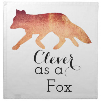 Clever as a Fox Typographical Watercolor Napkin