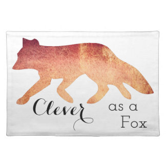 Clever as a Fox Typographical Watercolor Placemat