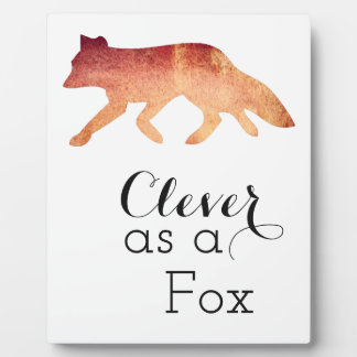 Clever as a Fox Typographical Watercolor Plaque