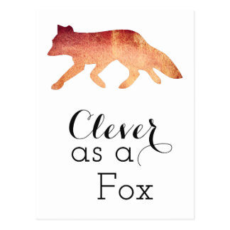Clever as a Fox Typographical Watercolor Postcard