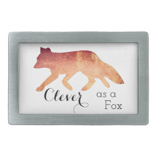 Clever as a Fox Typographical Watercolor Rectangular Belt Buckles