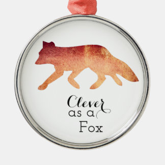 Clever as a Fox Typographical Watercolor Silver-Colored Round Decoration