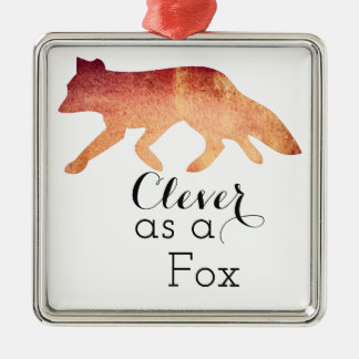 Clever as a Fox Typographical Watercolor Silver-Colored Square Decoration