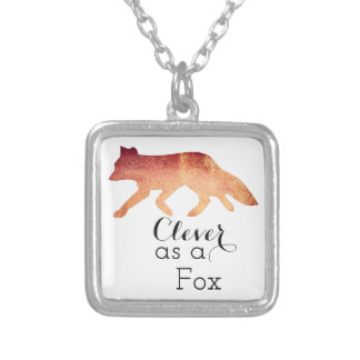 Clever as a Fox Typographical Watercolor Silver Plated Necklace