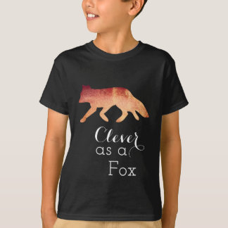 Clever as a Fox Typographical Watercolor T-Shirt