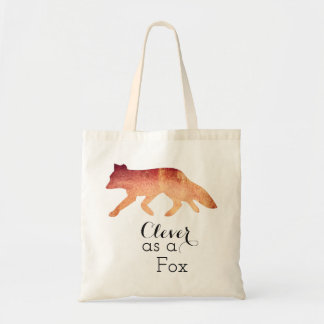 Clever as a Fox Watercolor Typogaphy Tote Bag