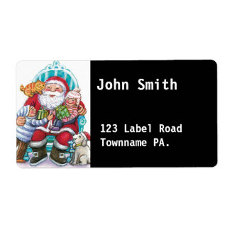 Click on Customize Santa Avery Address Label black Personalized Shipping Label