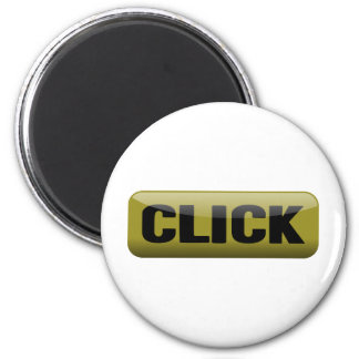 Click, Shiny Button - Mustard And Black 6 Cm Round Magnet