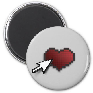Clickable Heart 6 Cm Round Magnet