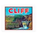 Cliff Apple Label - Chelan Falls, WA Postcard