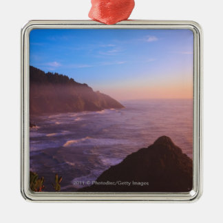 Cliff Coastal View In Oregon at Sunset Silver-Colored Square Decoration
