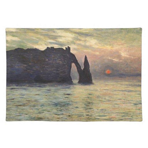 Cliff, Etretat, Sunset by Claude Monet Vintage Art Placemat