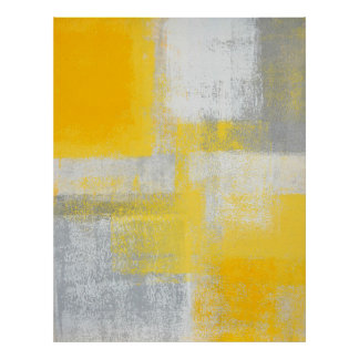 'Cliff' Grey and Yellow Abstract Art Poster Print