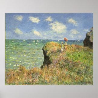 Cliff Walk Pourville, Monet, Vintage Impressionism Poster