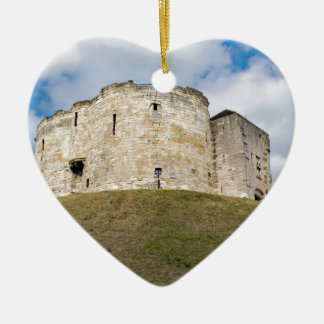 Clifford's Tower in York  historical building. Ceramic Heart Decoration