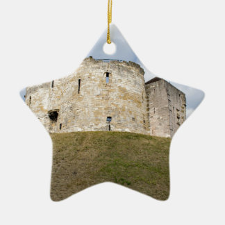 Clifford's Tower in York  historical building. Ceramic Star Decoration