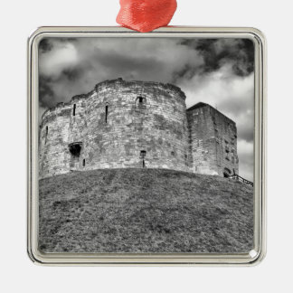Clifford's Tower in York  historical building Silver-Colored Square Decoration