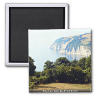 Cliffs at Beer Seaton Bay, Dorset, England Square Magnet