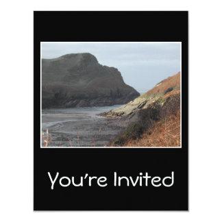 Cliffs at Watermouth, Devon, UK. On Black. 11 Cm X 14 Cm Invitation Card