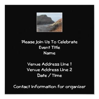 Cliffs at Watermouth, Devon, UK. On Black. 13 Cm X 13 Cm Square Invitation Card