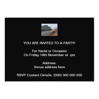 Cliffs at Watermouth, Devon, UK. On Black. 13 Cm X 18 Cm Invitation Card
