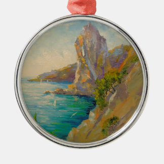 Cliffs by the sea Silver-Colored round decoration