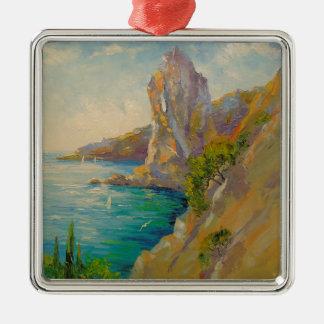 Cliffs by the sea Silver-Colored square decoration