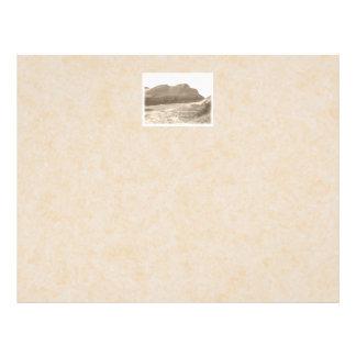 Cliffs in sepia color. On beige background. Flyer Design