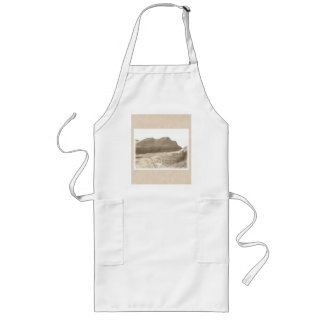 Cliffs in sepia color. On beige background. Long Apron