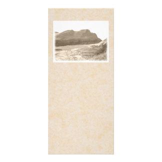 Cliffs in sepia color. On beige background. Rack Card