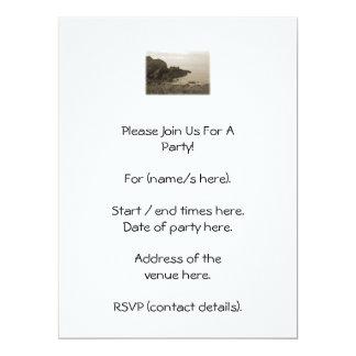 Cliffs in sepia color. On White Background. 17 Cm X 22 Cm Invitation Card