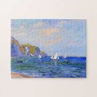 Cliffs & Sailboats at Pourville Monet Fine Art Jigsaw Puzzle