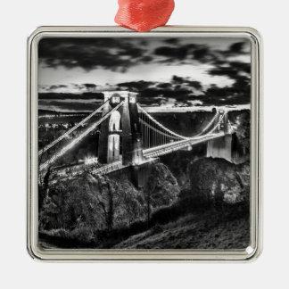 Clifton Bridge BW Silver-Colored Square Decoration