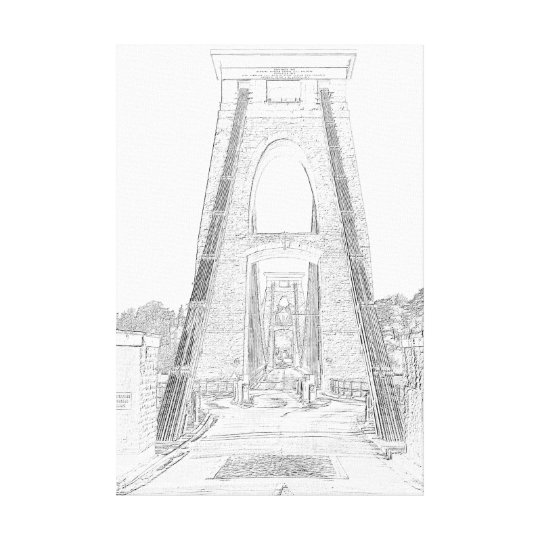 Clifton Suspension Bridge line art Canvas Print