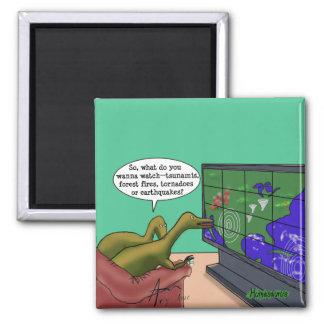 Climate Change Dinosaurs Parody Cartoon Magnet