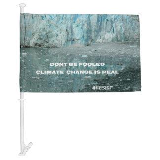 Climate Change Is Real Melting Glacier Car Flag