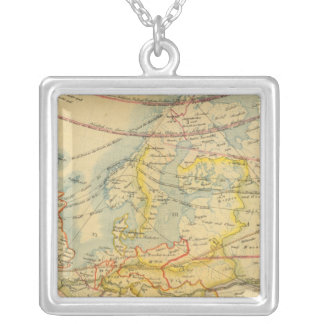 Climate of Europe Map Silver Plated Necklace