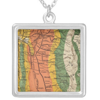 Climatic map of California Silver Plated Necklace