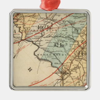 Climatological map of the State of Maryland Square Metal Christmas Ornament