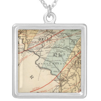 Climatological map of the State of Maryland Square Pendant Necklace
