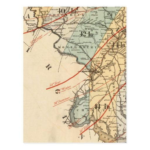 Climatological map of the State of Maryland Post Card