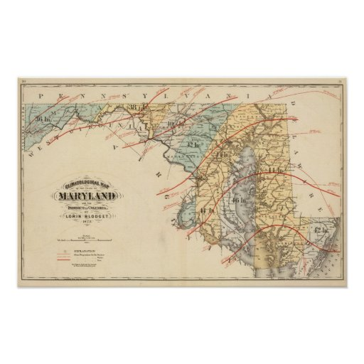 Climatological map of the State of Maryland Print