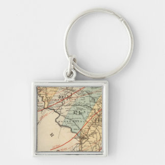 Climatological map of the State of Maryland Silver-Colored Square Key Ring